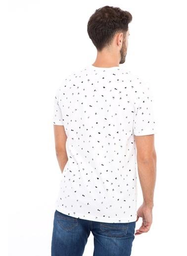 Kiğılı Bisiklet Yaka Desenli Slim Fit Tişört Beyaz